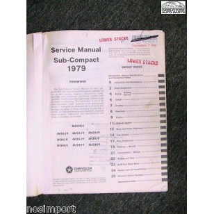 Dodge Colt Plymouth Champ 1979 FACTORY Service Manual USED