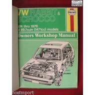 VW Repair Manual Rabbit Scirocco 1974-1976 Haynes Used re-bound