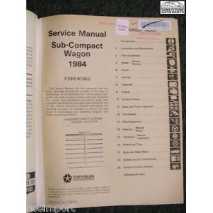 Dodge Colt VISTA 1984 FACTORY Service Manual Used