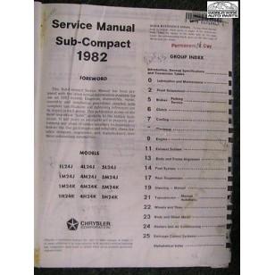 "Dodge Colt 1982 Shop Manual ""Subcompact"" USED  reboundl"
